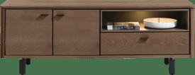 lowboard 170 cm. - 2-portes + 1-porte rabattante + 1-niche