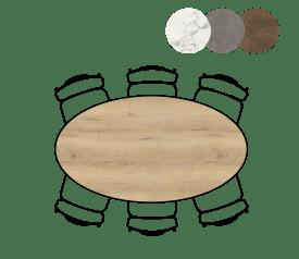 table de bar ellips - 180 x 100 cm (hauteur 92 cm)