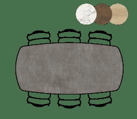 table de bar ovale - 200 x 105 cm - (hauteur 92 cm)