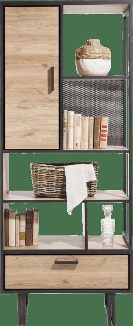 boekenkast 80 cm. - 1-deur + 1-lade + 5-niches