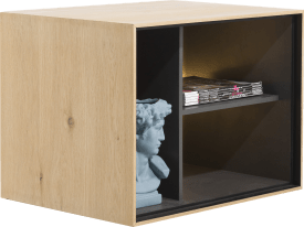 box 45 x 60 cm. - bois - a suspendre + 3-niches + led