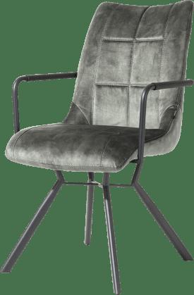 fauteuil - 4-pieds avec liaison croissee + poignee - tissu karese