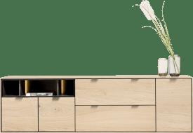 dressoir 210 cm. - 3-deuren + 2-laden + 3-niches + led