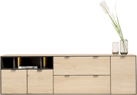 sideboard 210 cm. - 3-tueren + 2-laden + 3-nischen + led