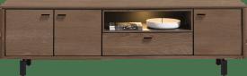 lowboard 210 cm. - 3-portes + 1-porte rabattante + 1-niche