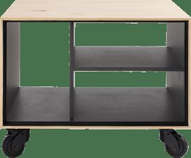 hoektafel 60 x 60 cm. + 3-niches - met zwarte wielen & extra set poten