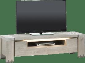 meuble tv 160 cm - 2-portes rabattantes + 1-niche