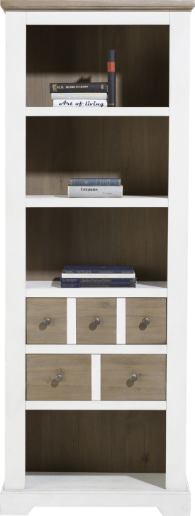 bibliotheque 75 cm - 2-tiroirs + 4-niches