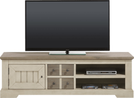 meuble tv 160 cm - 1-porte + 2-tiroirs + 2-niches