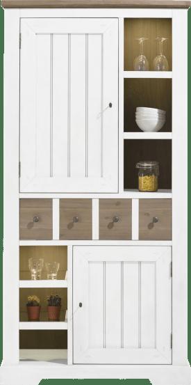 bergkast 100 cm - 2-deuren + 1-lade + 6-niches (+ led)