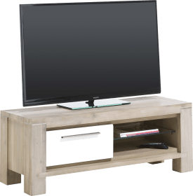 meuble tv 120 cm - 1-porte rabattante + 2-niches