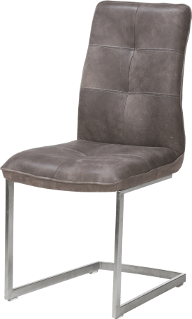 cuir, chaise - pied traineau inox carre