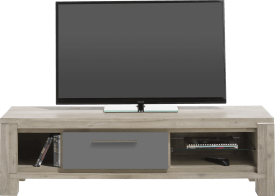 meuble tv 150 cm - 1-porte rabattante + 3-niches