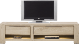 meuble tv 180 cm -1-tiroir + 2 niches + 1-porte rabattante (+ led)