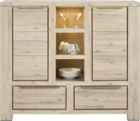 highboard 2-portes + 2-tiroirs + 3-niches (+ led)