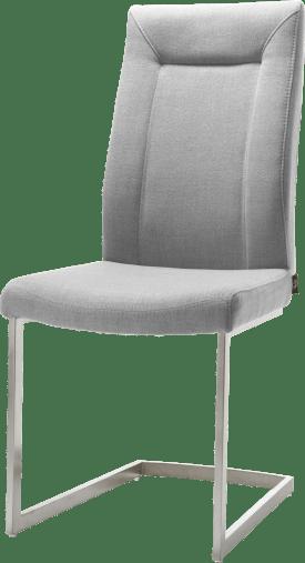 chaise - pied traineau inox carre avec poignee ronde + tissu soul
