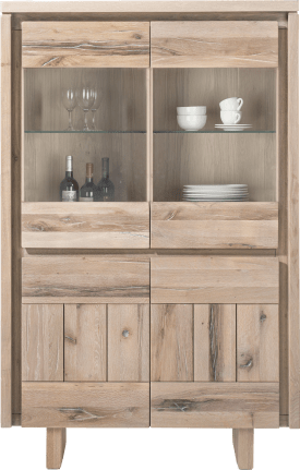 highboard 99 cm - 2-portes + 2-portes en verre - bois (+ led)