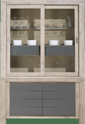 vaisselier 2-portes en verre + 2-portes + 2-corbeilles (+ led)