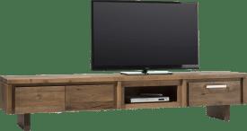 meuble tv 220 cm - 2-portes rabattantes + 1-tiroir + 1-niche - bois