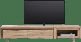 meuble tv 200 cm - 2-portes rabattantes + 1-niche - bois
