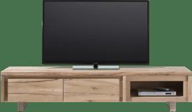 meuble tv 180 cm - 2-portes rabattantes + 1-niche - bois