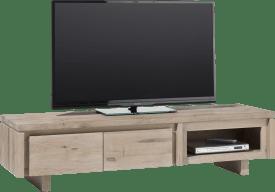 meuble tv 160 cm - 2-portes rabattantes + 1-niche - bois