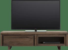 meuble tv 140 cm - 1-porte rabattante + 1-niche - bois