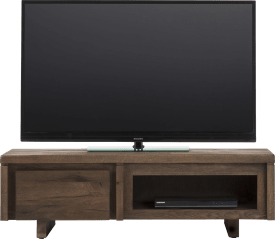 meuble tv 120 cm - 1-porte rabattante + 1-niche - bois