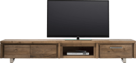 meuble tv 220 cm - 2-portes rabattantes + 1-tiroir + 1-niche - inox