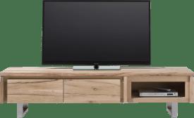 meuble tv 180 cm - 2-portes rabattantes + 1-niche - inox
