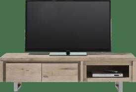meuble tv 160 cm - 2-portes rabattantes + 1-niche - inox