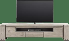 meuble tv 190 cm - 2-portes rabattantes + 1-tiroir + 1-niche
