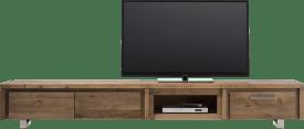tv-dressoir 240 cm - 2-kleppen + 1-lade + 1-niche - rvs