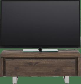 meuble tv 100 cm - 1-porte rabattante - inox