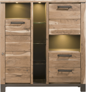 armoire 130 cm - 2-portes + 2-tiroirs + 6-niches (+ led)
