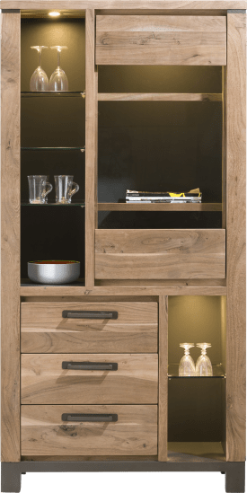 vitrine 95 cm - 1-porte en verre + 3-tiroirs + 6-niches (+ led)