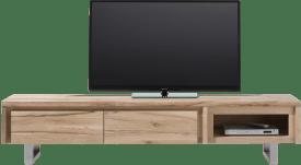 meuble tv 200 cm - 2-portes rabattantes + 1-niche - inox
