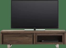 meuble tv 140 cm - 1-porte rabattante + 1-niche - inox