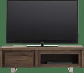meuble tv 120 cm - 1-porte rabattante + 1-niche - inox