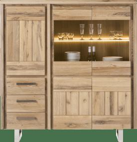 highboard 150 cm - 3-portes + 2-portes en verre + 3-tiroirs - inox
