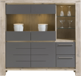 highboard breed 2-glasdeuren +2-deuren+2-laden + 3-niches(+led)