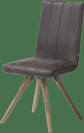 chaise - pied bois - tissu leopard anthracite