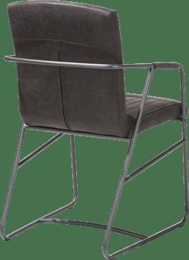fauteuil - cadre metal couleur anthracite - cuir corsica