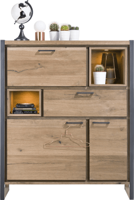 highboard 2-tueren + 1-lade + 1-klappe + 2-nischen (+ led)