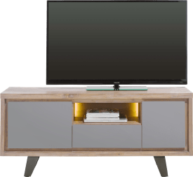 lowboard 140 cm 1-porte + 1-tiroir +1-porte rabattante +1-niche (+led)