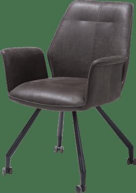 armstoel - zwart frame + wielen - stof secillia