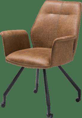 fauteuil - cadre noir + roulettes - tissu secillia