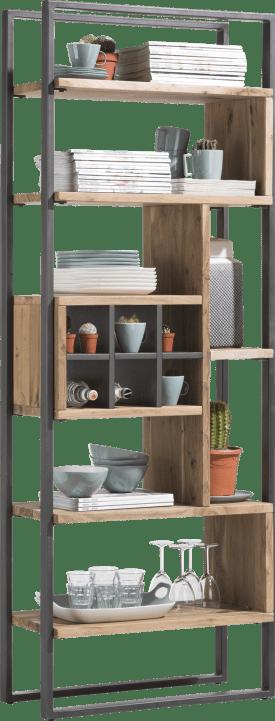 boekenkast 70 cm - 7-niches + 1-wijnrek