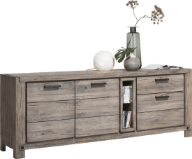 dressoir 220 cm - 2-deuren + 2-laden + 2-niches (+ led-spot)