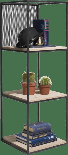 etagere 3-niches + 3-planches + 1-panneaux metalique mobile-131 cm